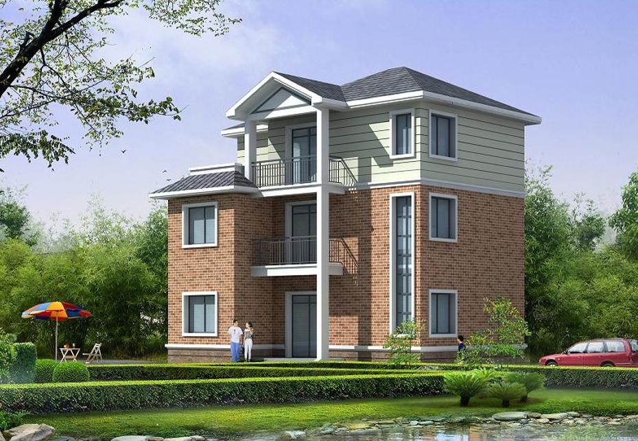 11.4x9.0m新颖别致三层楼房设计图_农村房屋设计图_建房子图纸
