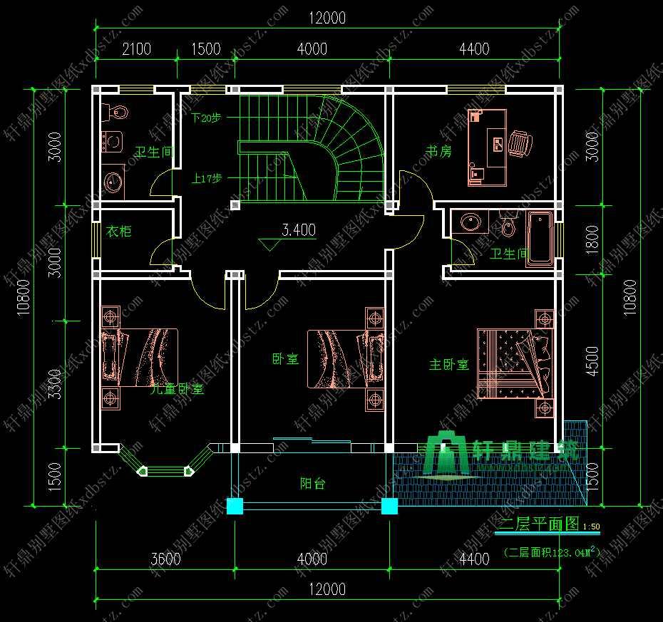 12x10.8米带阁楼层二层半农村房屋设计图图片