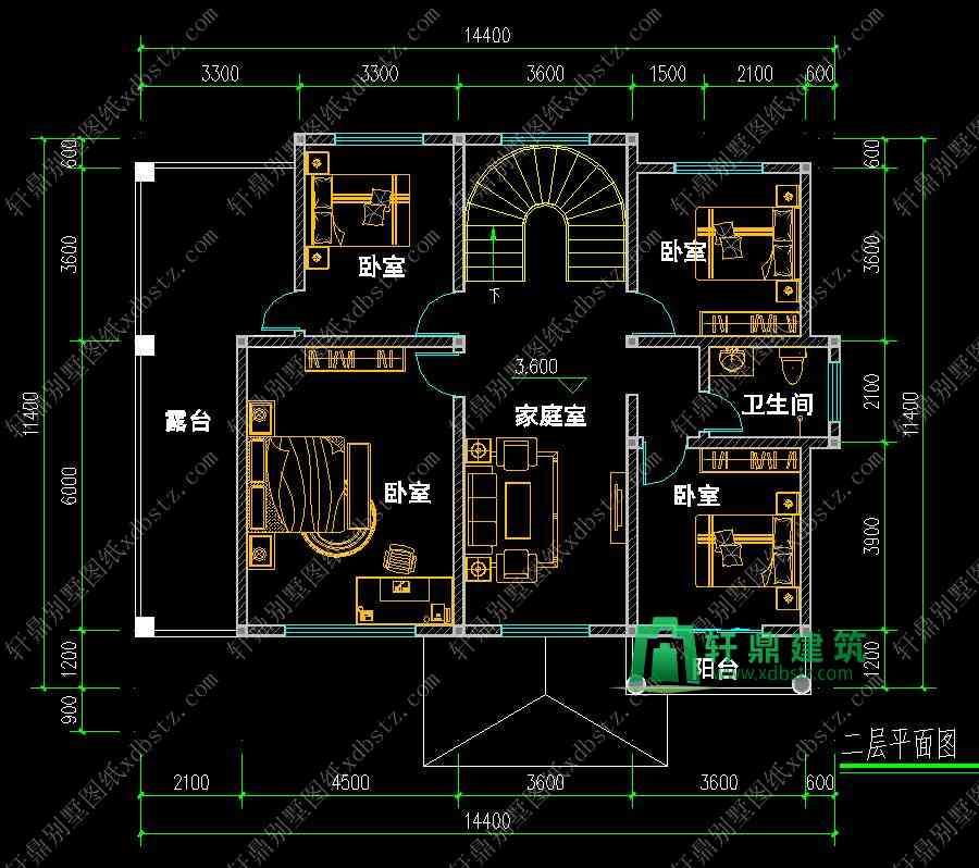 14x11实用新款二层新农村自建房_轩鼎设计公司出品