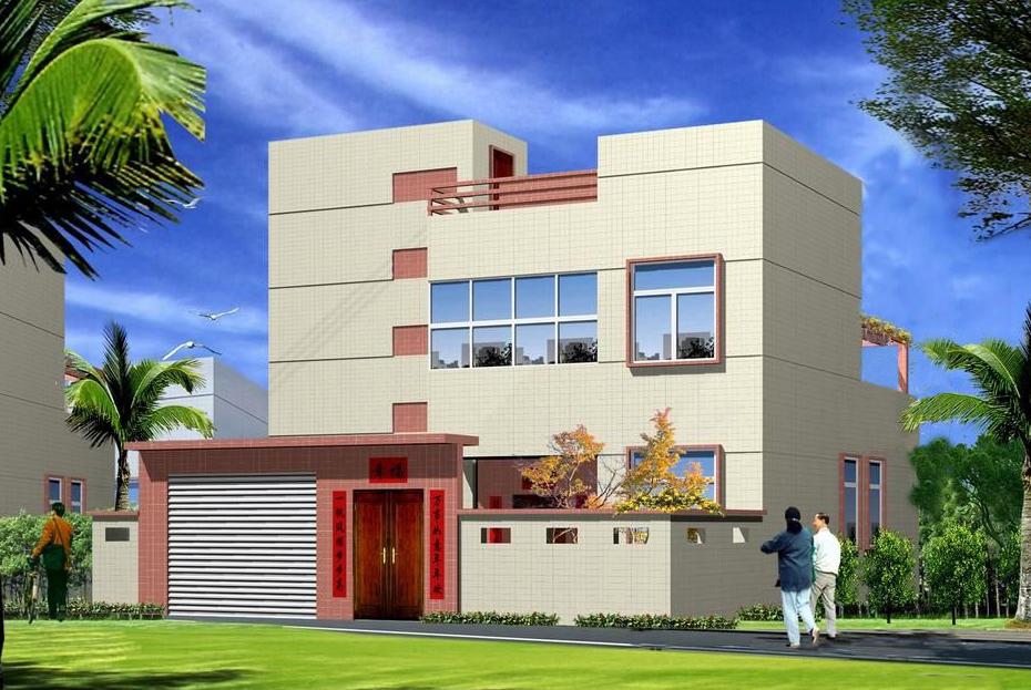 11.4x7.5米简单二层平屋面农村房子图纸_二层农村建房设计图_造价15万以内民房