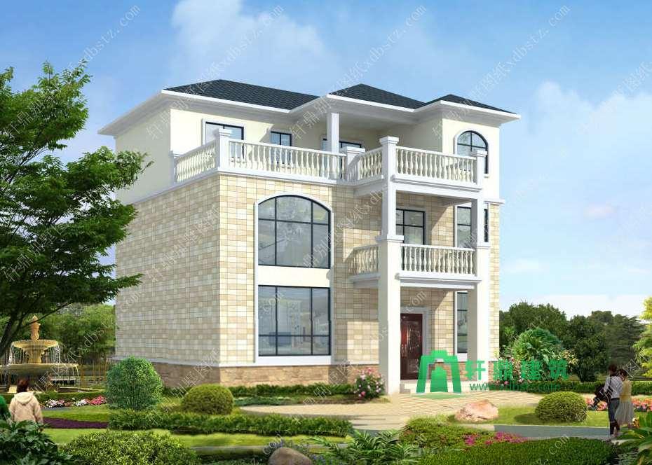 11.25x11.05米实用清新三层自建房设计图_三层农村房屋设计图_三层别墅图纸