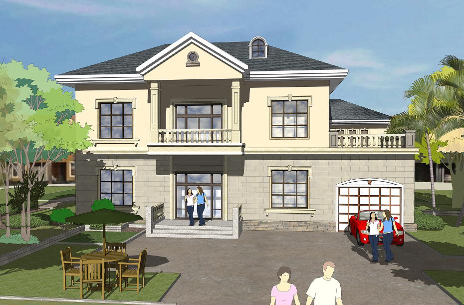 15.9x8.8m二层带车库别墅设计图纸_二层房屋设计图_二层自建房图纸