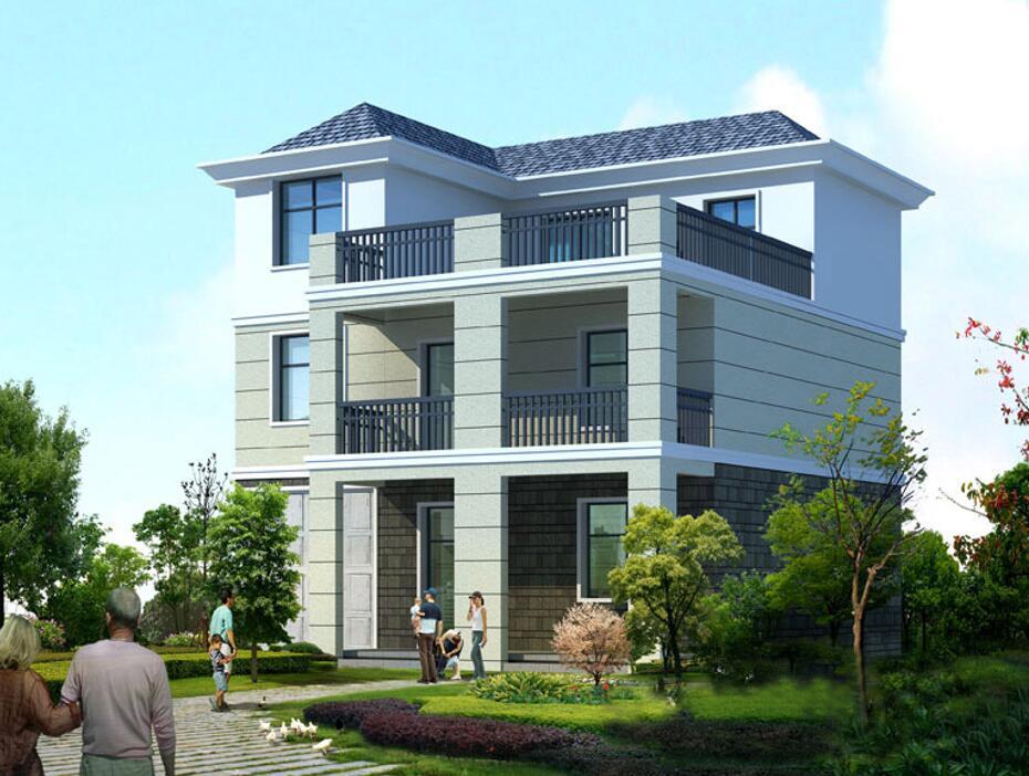 11.1x11.4米农村实用三层自建房设计图_简洁外观大露台农村房子设计图