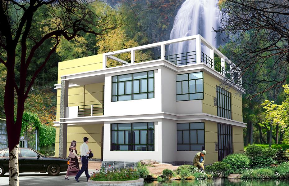13.1x10.8米二层平屋顶农村房子设计图_二层简洁楼房图纸