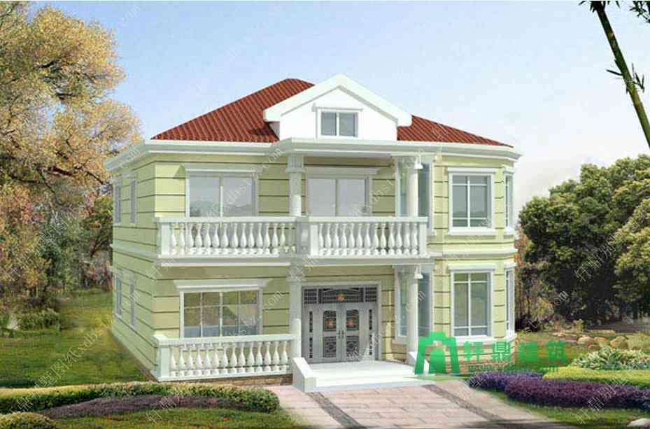 12.4x13.2m一款很适合农村建设的房子图纸_乡村别墅图