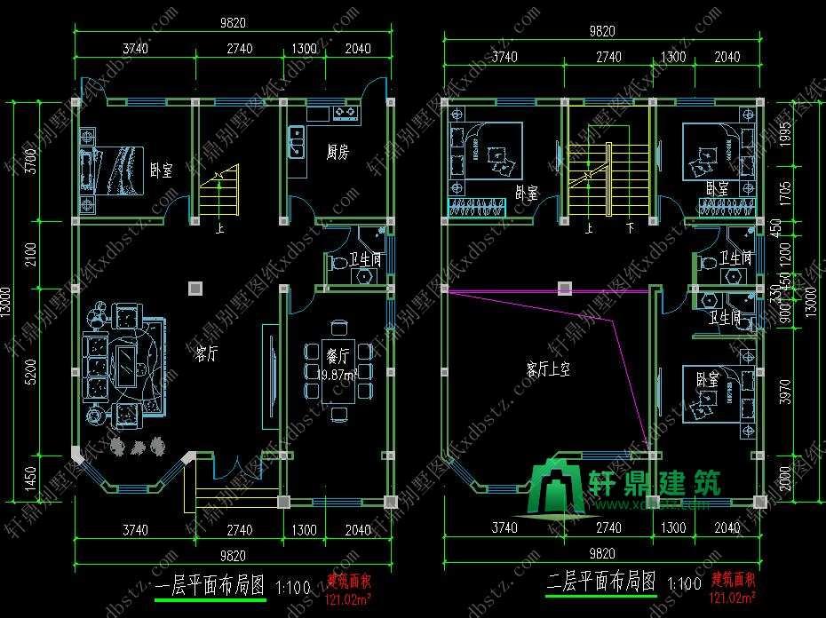 9.8x13米三层半新农村房子设计图图片