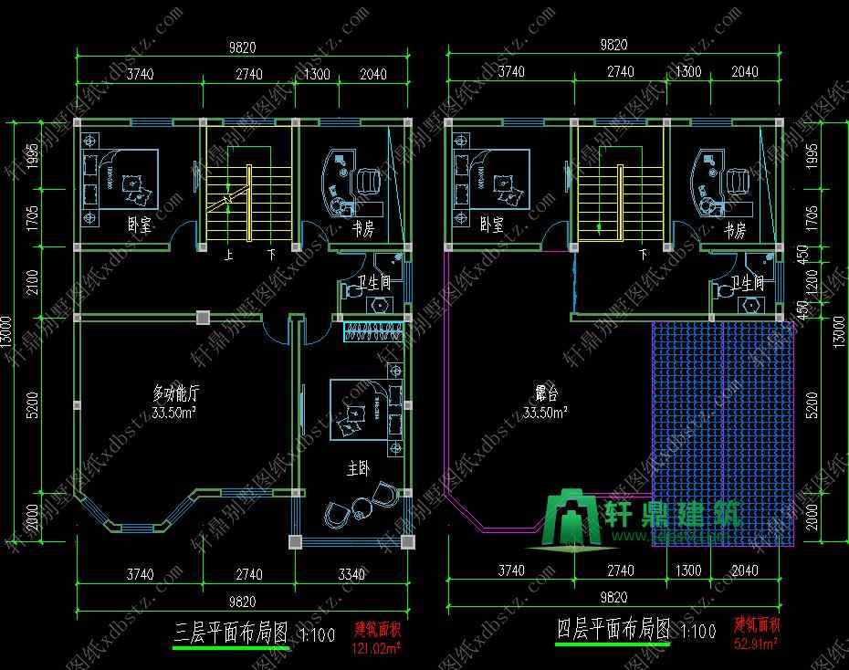 9.8x13米三层半新农村房子设计图
