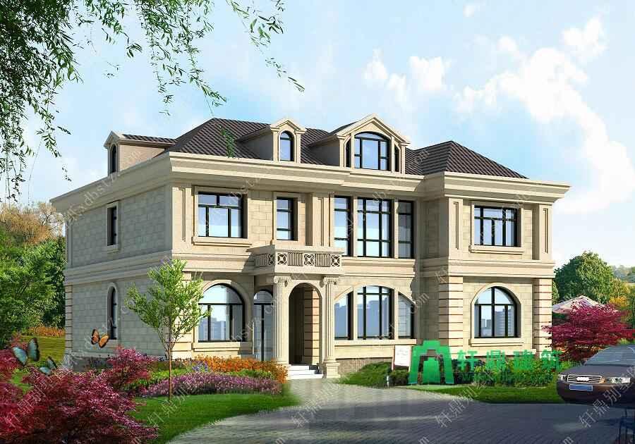 二层豪华大气农村别墅设计图17x13米_自建房二层房屋图纸