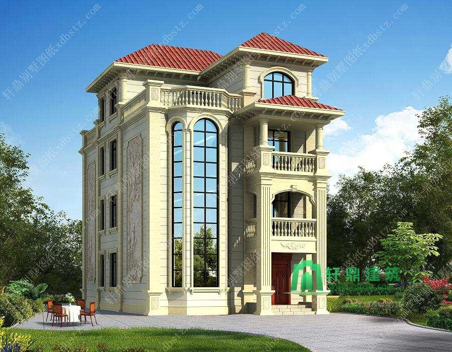 8x15三层半欧式大气自建房全套施工图_轩鼎建筑设计出品