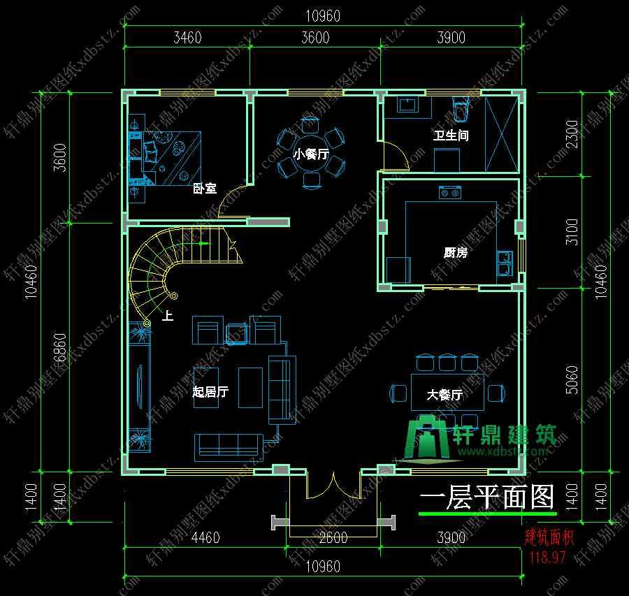 11x11米精致别墅3层房屋设计图