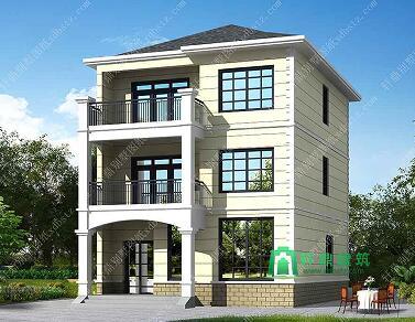 8.6X10.5米实用三层农村房屋设计图_三层简单造型造价低农村房子设计图_三层小型自建别墅