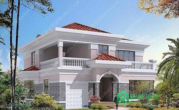 12.3x12.5米简单大气二层农村建房设计图_二层房屋建筑设计图_简欧风格别墅设计
