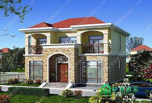 12x10米占地120平方米二层房子设计图_实用美观带阳台小别墅