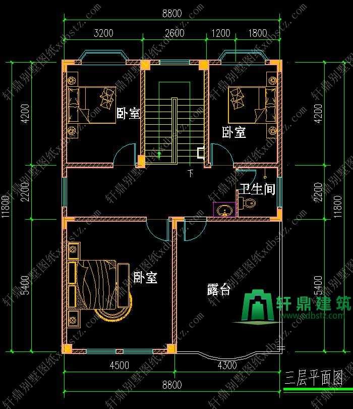 8x11米两层半实用美观农村小别墅