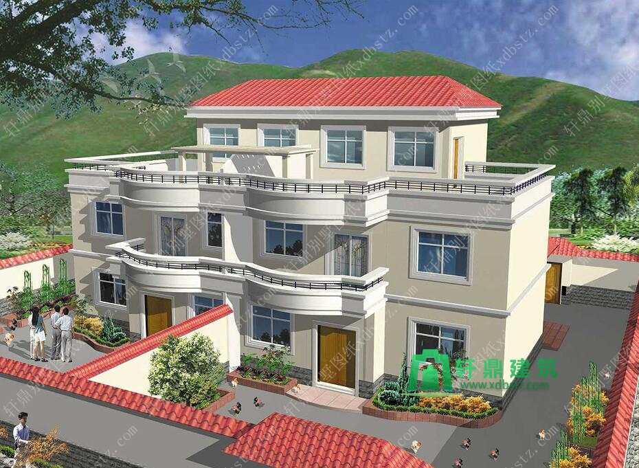 9.0x11米三层双拼建房设计图纸 双拼农村别墅设计图 实用三层双拼房屋图纸图片