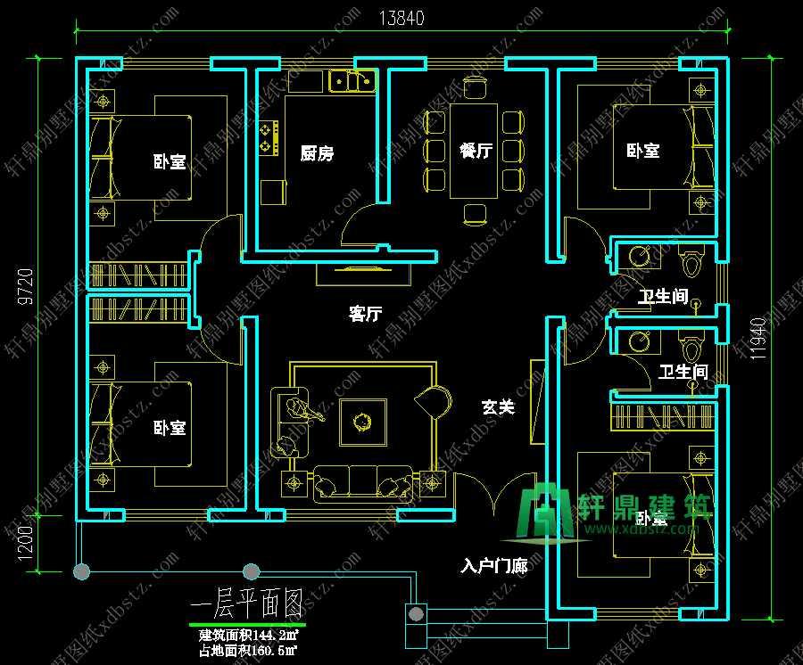 本套图纸经过我公司各专业注册工程师依照国家建筑行业标准设计、修订、审核,已经完全达到国家规范设计标准要求,我们所有的图纸均为施工蓝图,严格按照设计院标准出图,每一套图纸均盖有公司设计公章,盖有设计公章即对别墅设计图纸结构安全负终身责任制,业主朋友可以放心购买,安心建房。 图纸质量决定图纸价格,我们相信高质量的图纸带给建房者的是事半功倍的效果,而有的粗制滥造的设计图纸,带来是大量的施工问题、重复的建材投入、不安全的结构、以及错误百出的细节等等,所以请建房的朋友能慧眼识图,相信轩鼎的实力。 特别说明:我们的