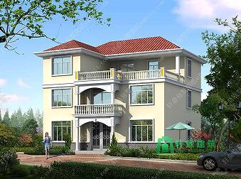 12x13米农村三层带露台自建房设计施工图,农村自建别墅推荐