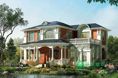 农村自建二层欧式别墅,带露台