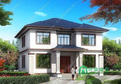 新中式二层别墅设计图带地下室,四合院风格二层农村别墅