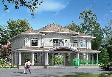 七字形二层别墅设计图
