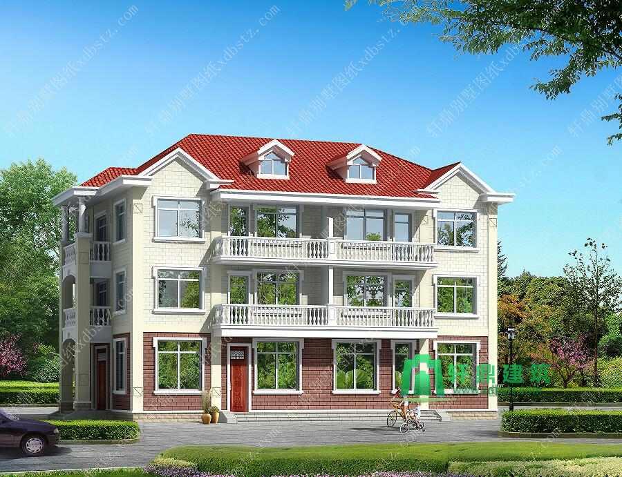 一梯两户三层别墅设计图 双阳台