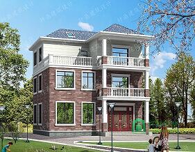 12*10.5m中式三层自建别墅,带露台,占地110平方米农村自建房设计图