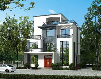 12.4*11.8m四层中式平顶别墅设计图,含全套施工图