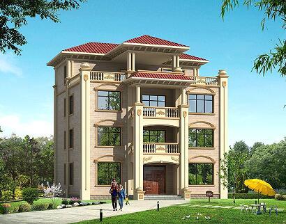 13.8*13.8三层半欧式复式自建别墅设计图,带大面积露台
