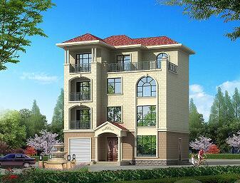四层自建别墅设计图,带室内车库,占地124.19㎡,可一梯两户