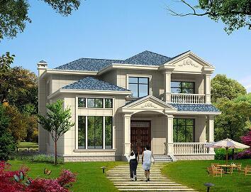 小面积二层自建别墅设计图,占地146.11㎡,12.44m*12.64m