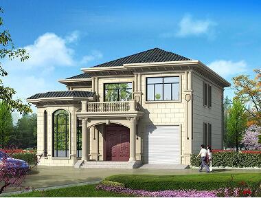 占地176.55㎡,12.9*16.3m二层自建别墅设计图,带有室内车库和大面积露台