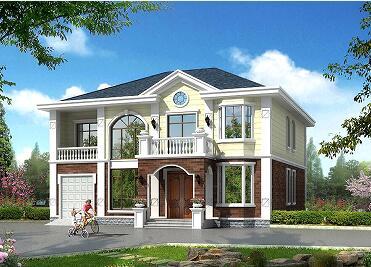精致二层小别墅设计图,中式田园风,占地213㎡理想家园,带有室内车库