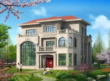 欧式三层复式别墅设计图,超大幕墙,低调奢华,占地226㎡