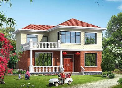 占地132.6㎡二层温馨小别墅设计图,14.7m*9.8m二层自建房