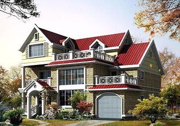 12x10米三层新农村建房设计图纸_带有室内车库漂亮实用三层小别墅设计图