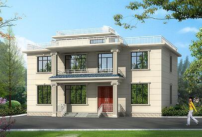 二层平顶别墅设计图,含全套施工图纸,16.20m*11.50m