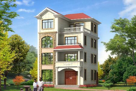 中式4层自建别墅设计图,8.7m*11.6m,经济实用