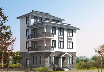 8.7x8.7m中式工程四层风格建房农村人体_图纸全套与室内设计图片