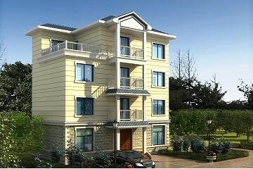 12.2x7.6m四层新农村自建房设计图_4层房屋设计图_自建房图纸