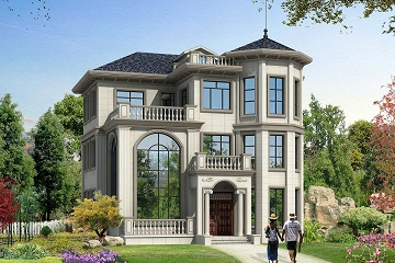 占地150㎡法式复古别墅设计图,带地下室,三层复式小别墅,螺旋状楼梯,华丽美观