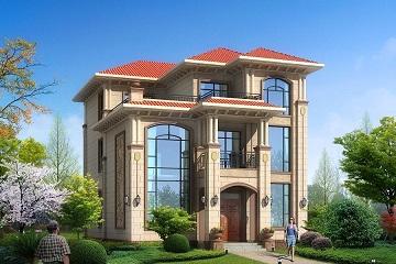 面宽11米,进深15米三层欧式别墅设计图,占地170平方米