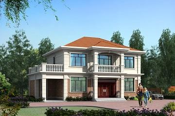 经典二层自建别墅设计图,带有地上车棚,大众款式
