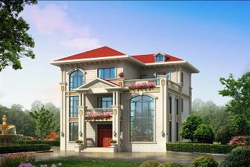 欧式三层复式别墅设计图,美观精致,采光良好