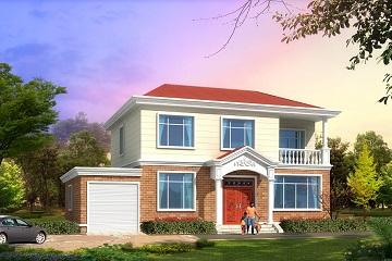 二层田园风格小别墅设计图,带有室内车库