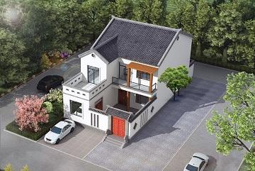 徽派二层带小院子自建小别墅设计图,美观精致,独门独户,经济实用