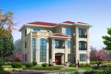 中式三层复式别墅设计图,弧型楼梯,带有大面积露台