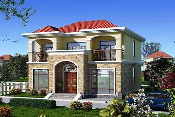12x12米占地120平方米二层房子设计图_实用美观带阳台小别墅