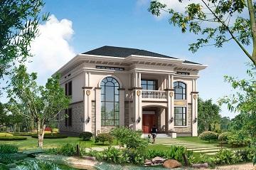 高端二层别墅设计图,配色沉稳内敛,设计带有壁挂庭院灯,十分贵气