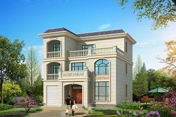 11m*11m三层欧式自建别墅设计图,带有打储藏室,可做室内车库