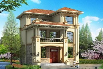9x11米 欧式大气三层小别墅设计图纸,外观、造型大方,色彩明快